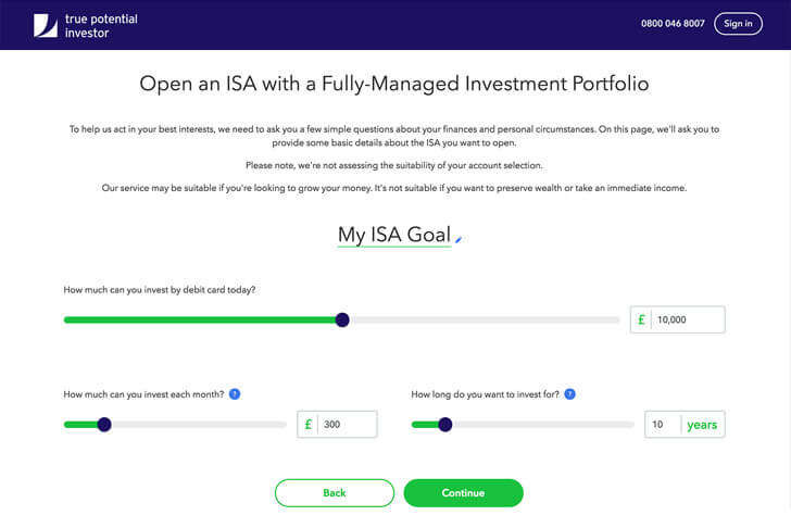 ISA goal setting page