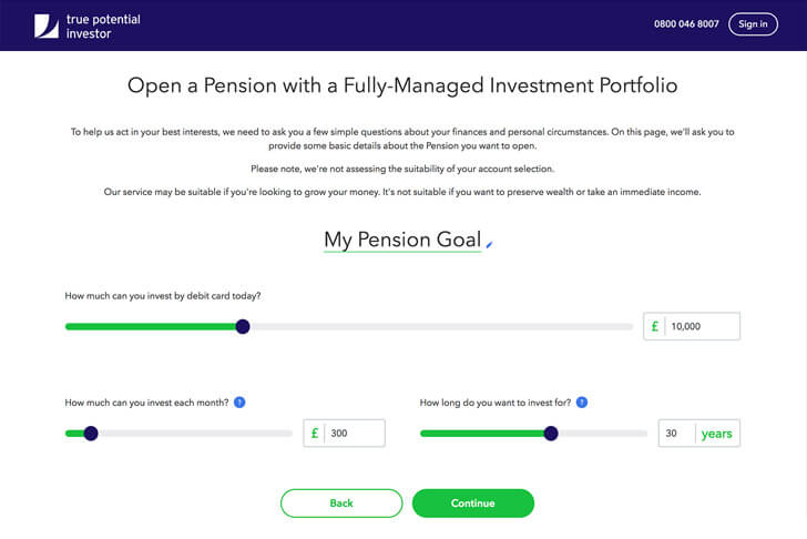 Pension goal setting page