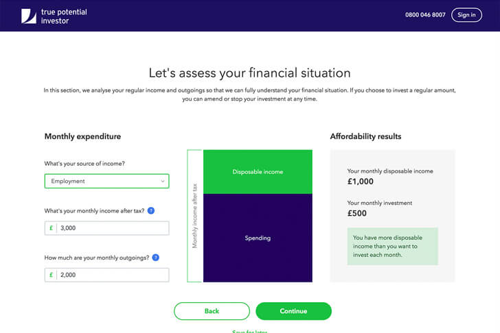 Financial assessment page