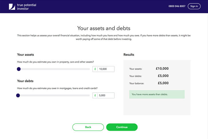Your assets and liabilities page