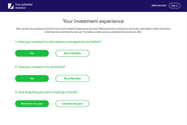 Your investment experience