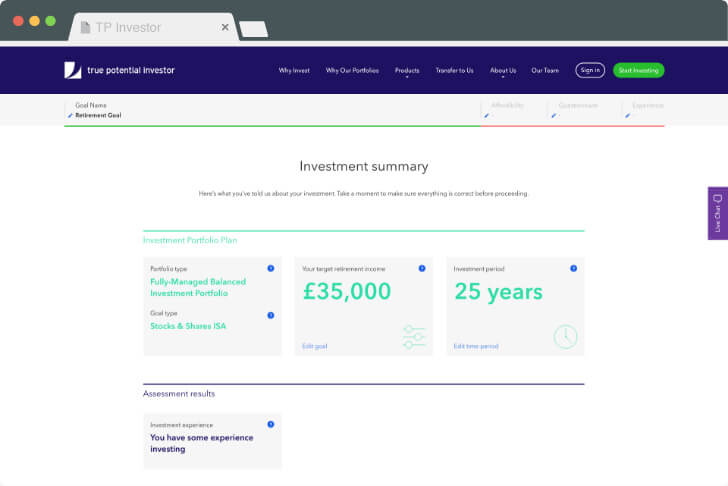 Investment summary page